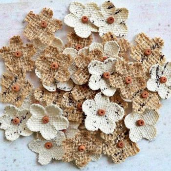 Rustic Hessian Flowers With Bead Centre - 20mm