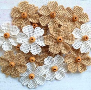 Rustic Hessian Flowers With Bead Centre - 35mm