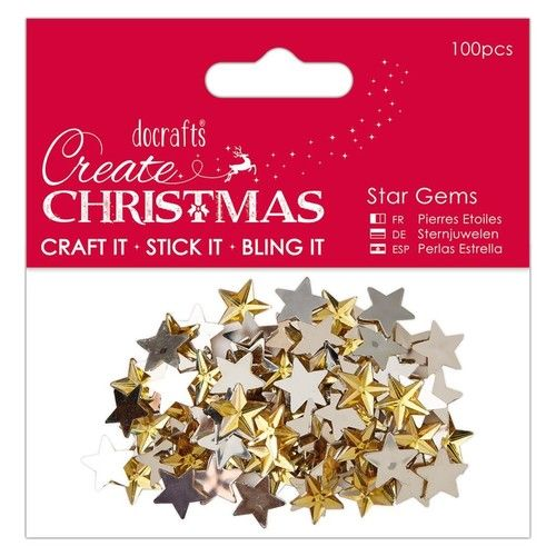 100 Gold Acrylic Star Gems Flatback  - 15mm