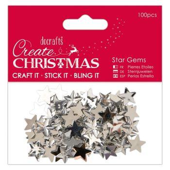100 Silver Acrylic Star Gems Flatback  - 15mm