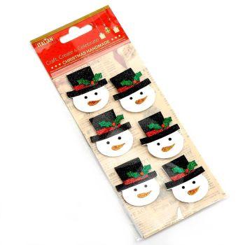 3D Self Adhesive Christmas Glitter Stickers - Snowmen