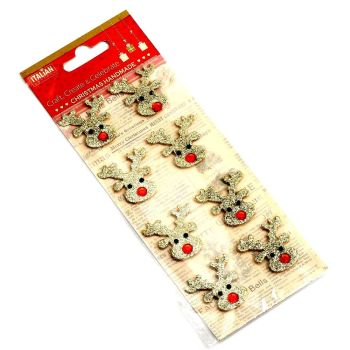 3D Self Adhesive Christmas Glitter Stickers - Reindeers