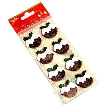 3D Self Adhesive Christmas Glitter Stickers - Christmas Puddings
