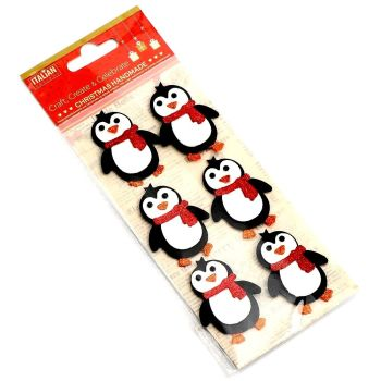 3D Self Adhesive Christmas Glitter Stickers - Penguins