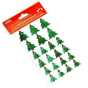 Self Adhesive Christmas Glitter Stickers - Christmas Trees