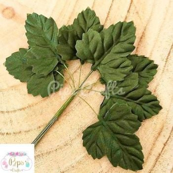 Beautiful Green Satin Silk Sycamore Leaves on Stem - 45mm