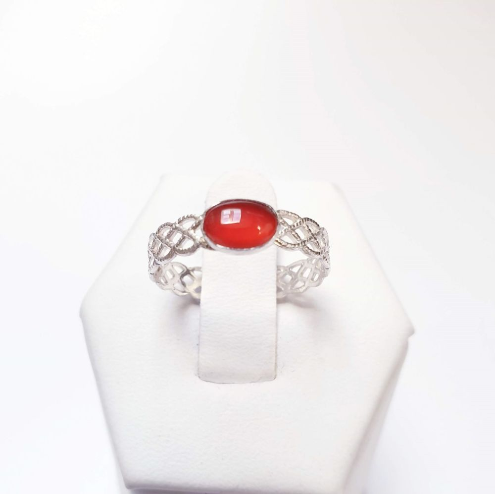 Sterling Silver & Carnelian Stacking Filigree Ring