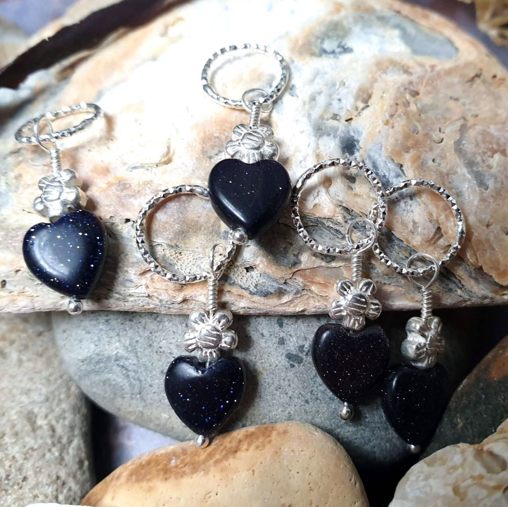 Blue Goldstone Hearts & Flowers Hair Charms
