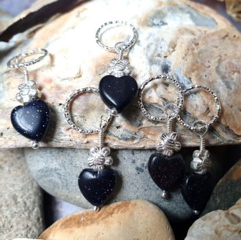 Blue Goldstone Hearts & Flowers Hair Charms x 5