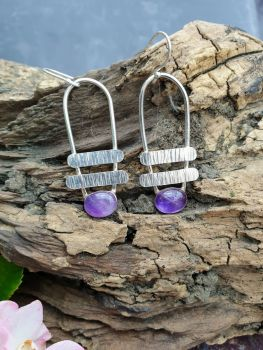Quirky Amethyst Ladder Earrings