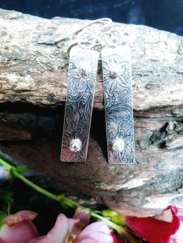Flower Print Silver Bar Earrings