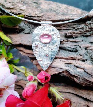 Pink Tourmaline Scribble Teardrop Pendant on Silver Wire Choker