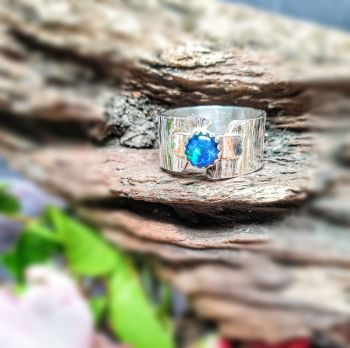 Wide Band Silver Bark Opal Ring - UK Size P.