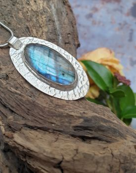 Hand Forged  Oval Sterling Silver & Labradorite Pendant
