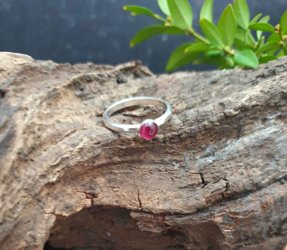 Pink Tourmaline Stacking Ring - UK size O.