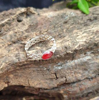 Sterling Silver & Carnelian Stacking Filigree Ring - UK Size P.
