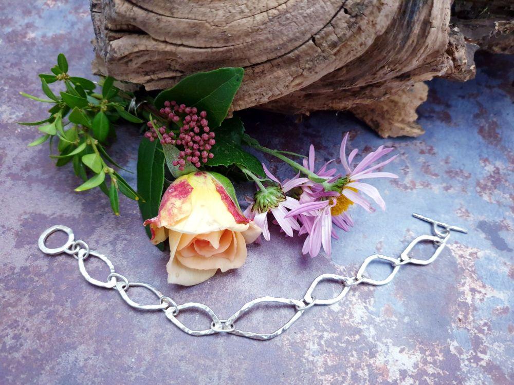 Sterling Silver Leaf Chain Bracelet