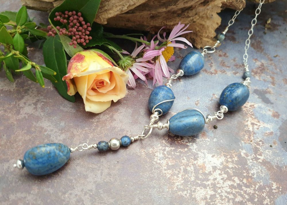 Sterling Silver and Lapis Lazuli Long