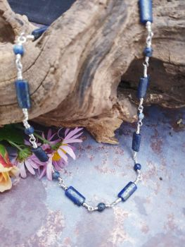 Fine Silver & Lapis Lazuli Wire Wrapped Necklace