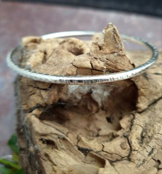 Oval Profile Textured Sterling Silver Stacking Bangle