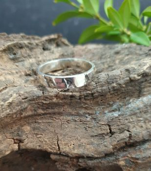 Sterling Silver Acid Etched Ring - UK Size Q