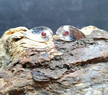 Teardrop Silver & Pink Tourmaline Stud Earrings