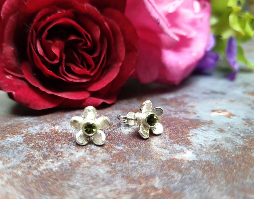 Sweet Little Buttercup Silver & Green Tourmaline Stud Earrings