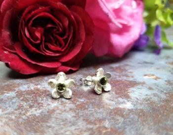 Sweet Little Buttercup Silver & Green Tourmaline Stud Earrings