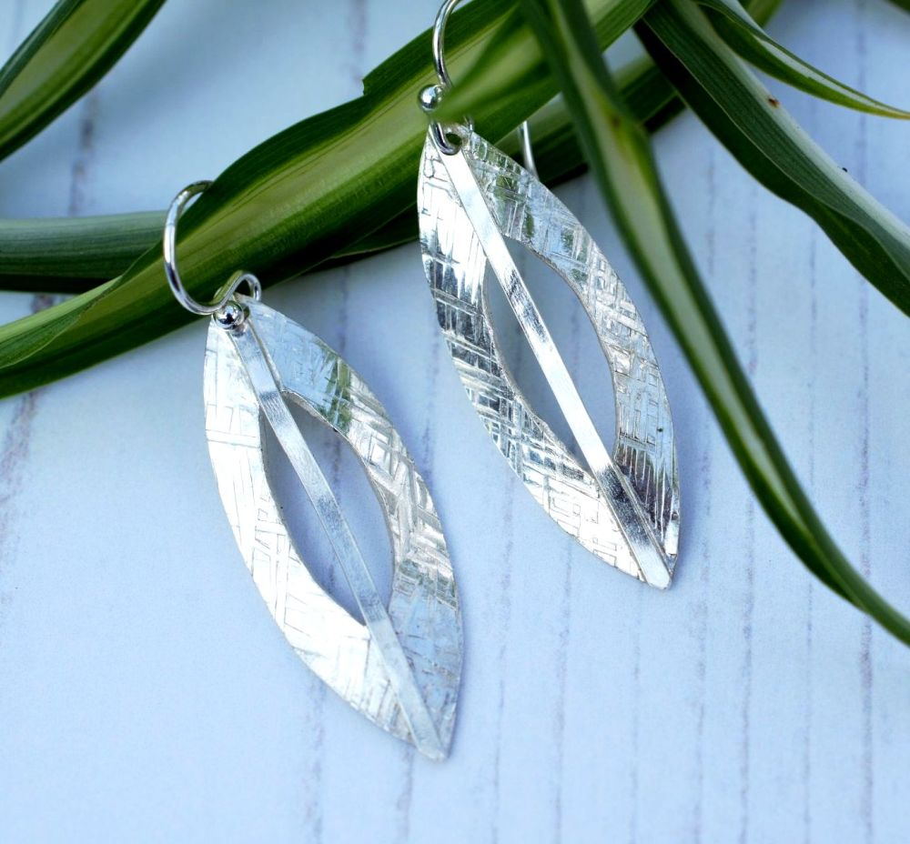 Silver Marquise Cut Out Earrings
