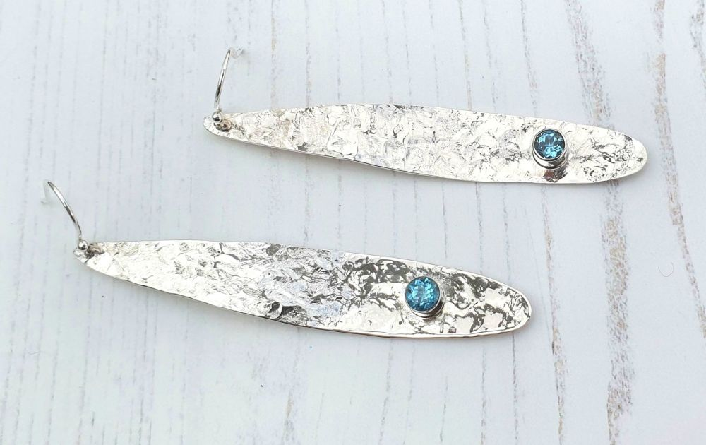 Curved and Textured Long Silver  and Swiss Blue Topaz Drop Earrings