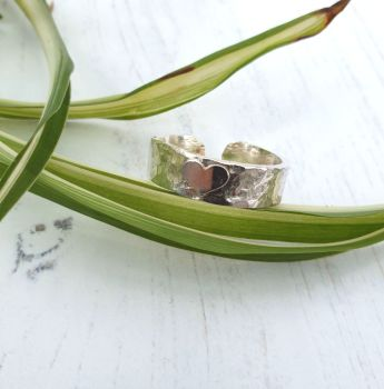 Open Back Sterling Silver Textured Heart Ring UK Size S