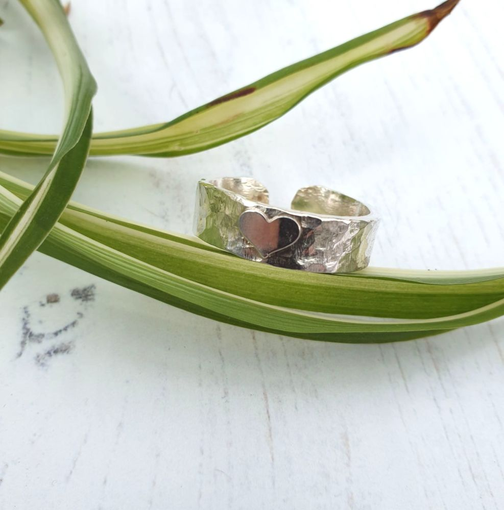 Open Back Sterling Silver Textured Heart Ring