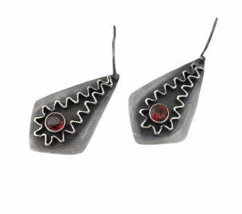 Sterling Silver & Mozambique Garnet Ric Rac Earrings
