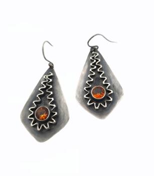 Sterling Silver & Block D Citrine Ric Rac Earrings
