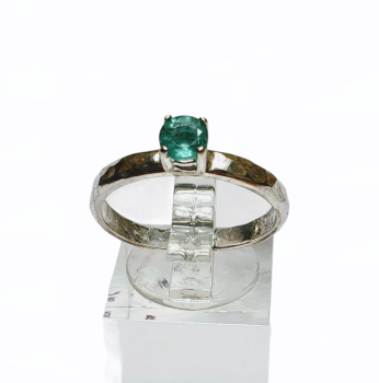 Hammered Sterling Silver & Zambian Emerald Ring - UK Size P