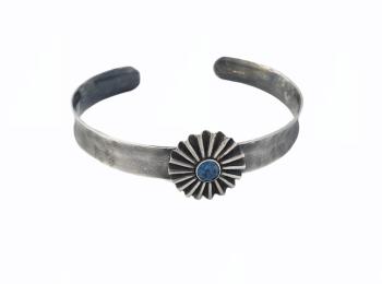 Sterling Silver &  London Blue Topaz Rosette Cuff Bangle