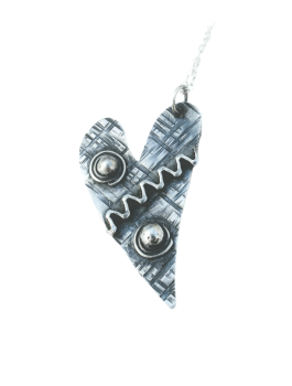 Patinated Sterling Silver Scribble & Dot Heart Pendant