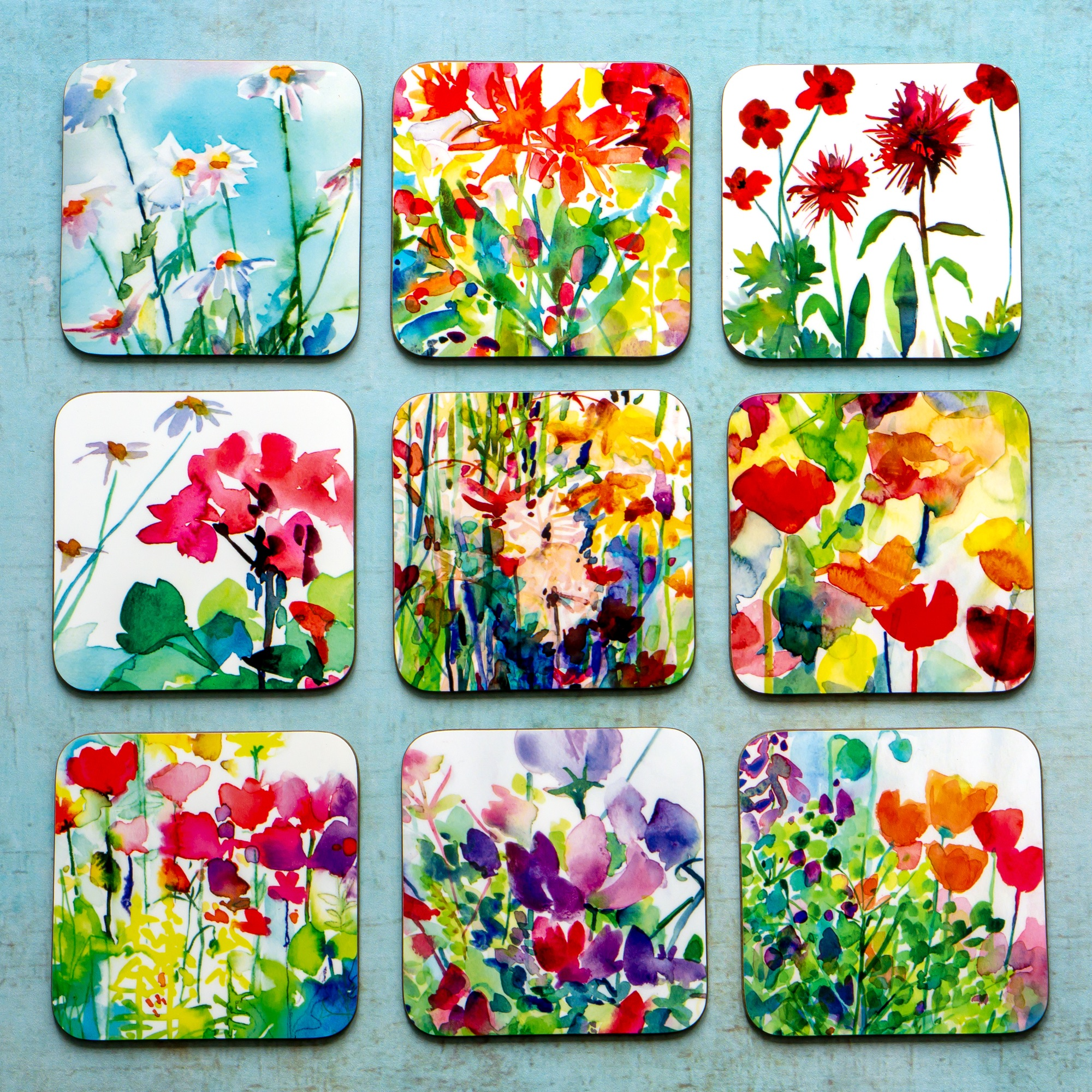 watercolour flower coasters