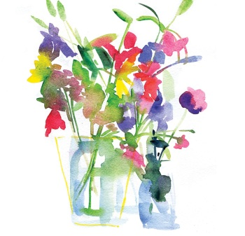 Fresh flowers Greetings Card