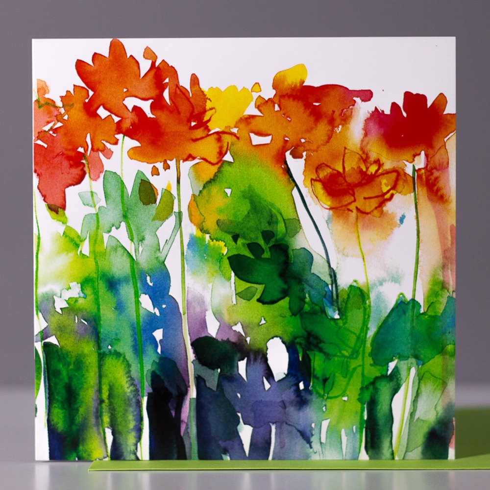 Orange Burst Greetings Card