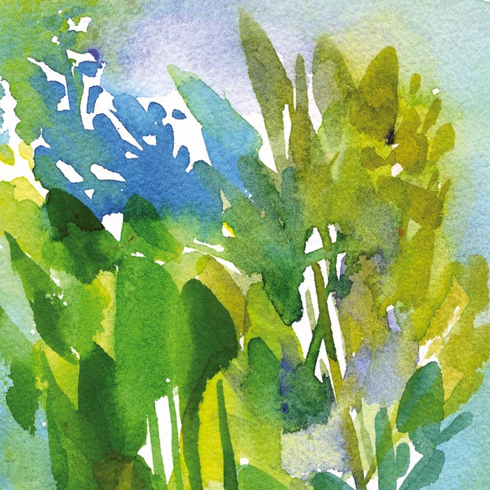 Green Leaves Greetings Card