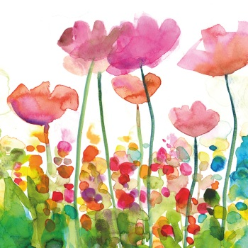 Pink Poppies Greetings Card