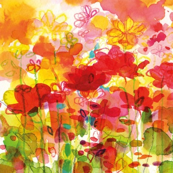 Hot Summer flowers Greetings Card