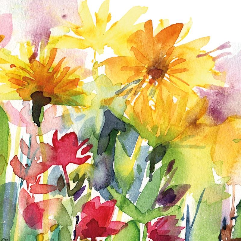 Golden Blooms Greetings Card