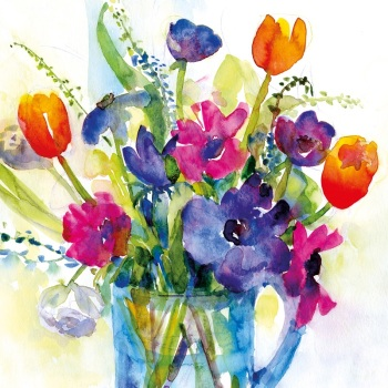 Anemones and Tulips Greetings Card