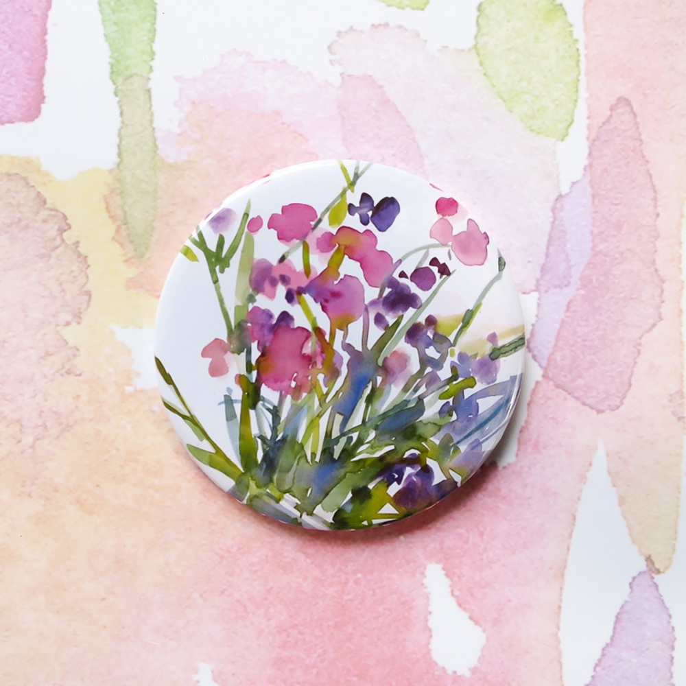 Allotment Flowers Pocket Mirror