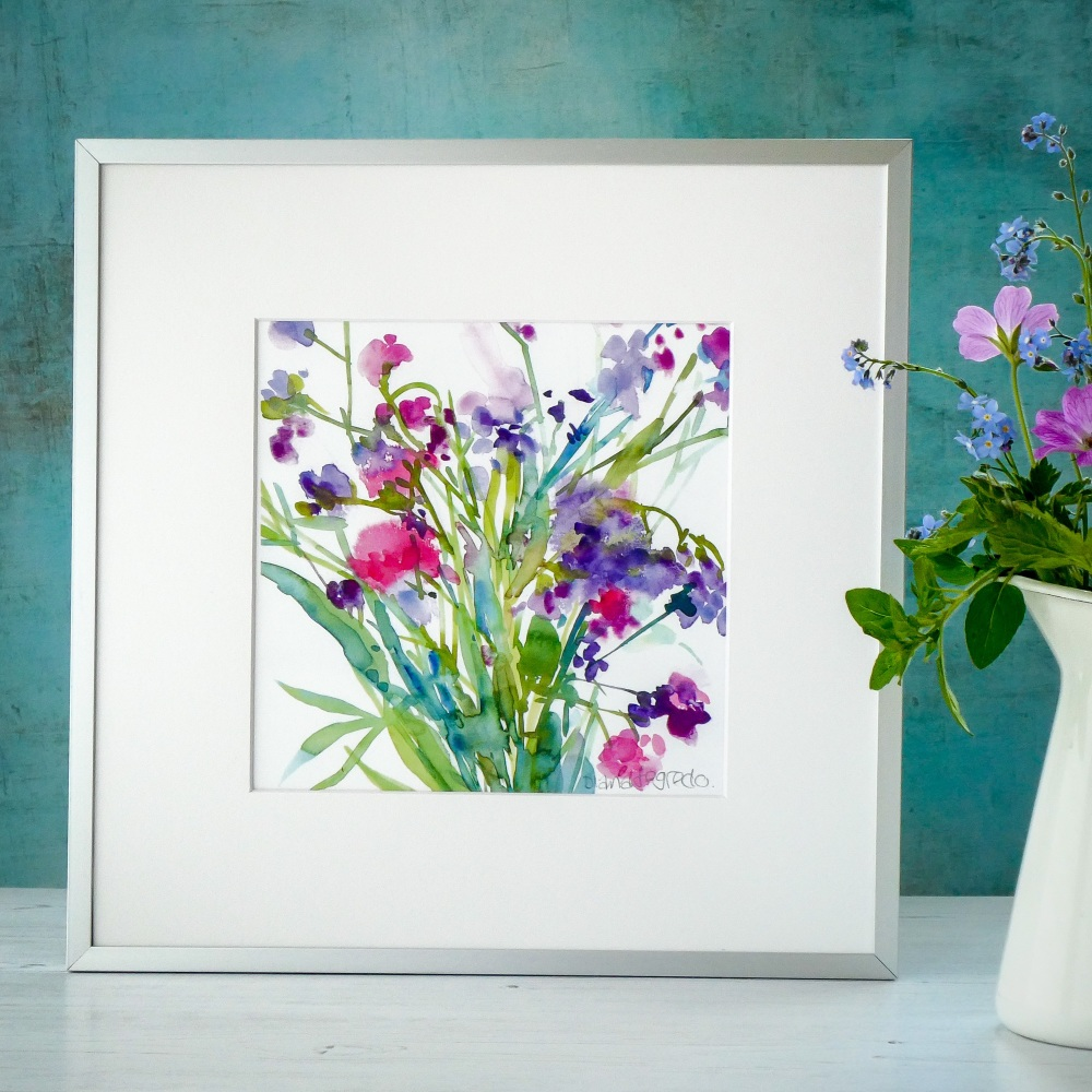 Sweetpeas and Statice signed Print