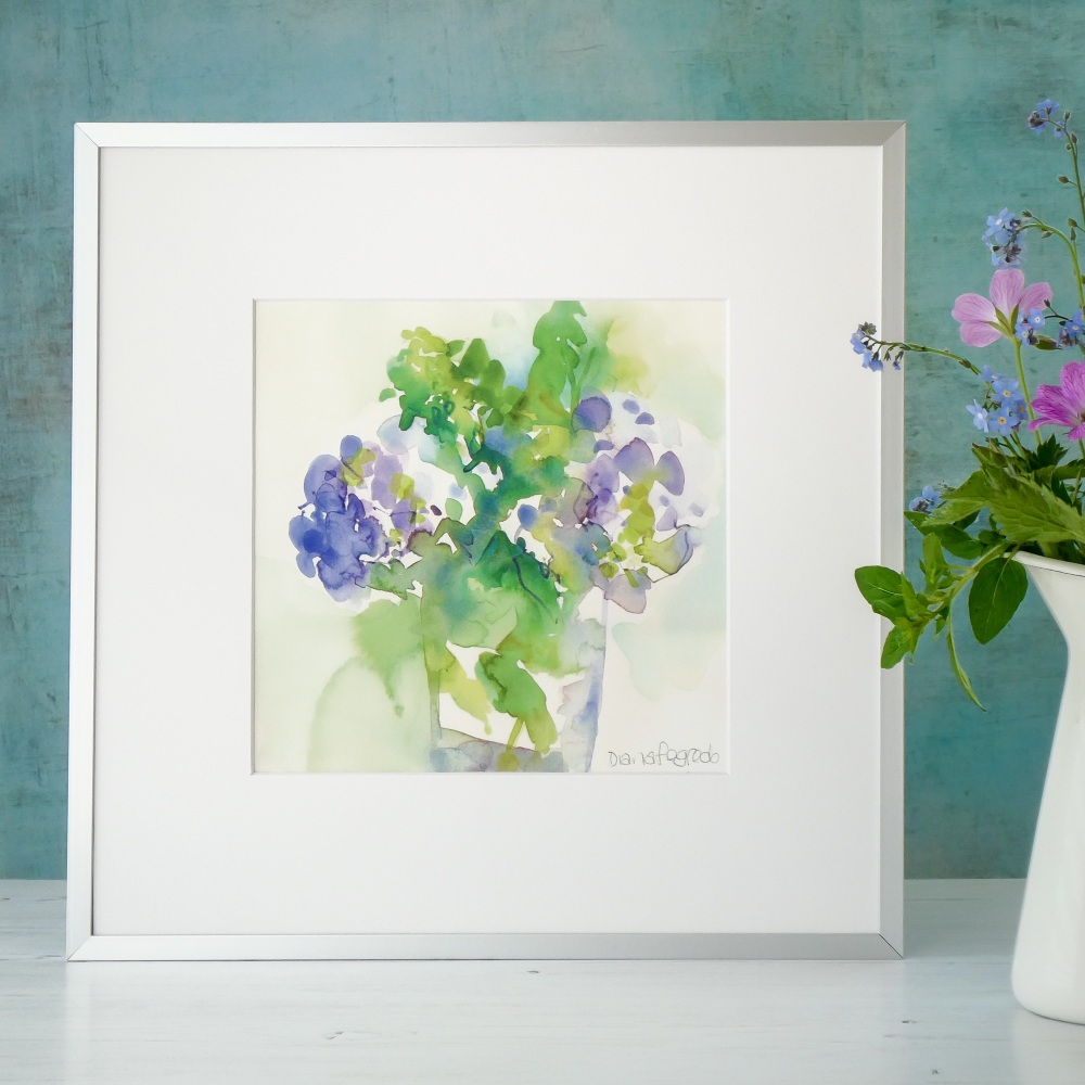Hydrangea Flowers signed Print