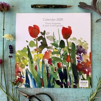 2020 Watercolour Flowers Wall Calendar
