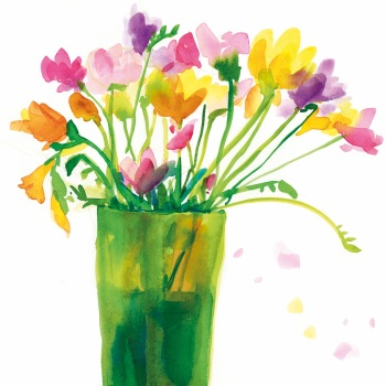 Freesias in a green vase Greetings Card